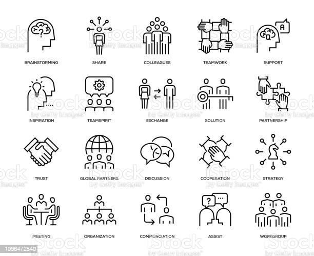 Samenwerking Icon Set Stockvectorkunst en meer beelden van Arbeider