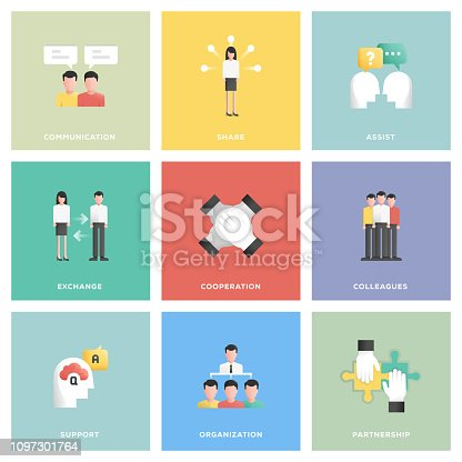 Collaboration Icon Set Flat Design