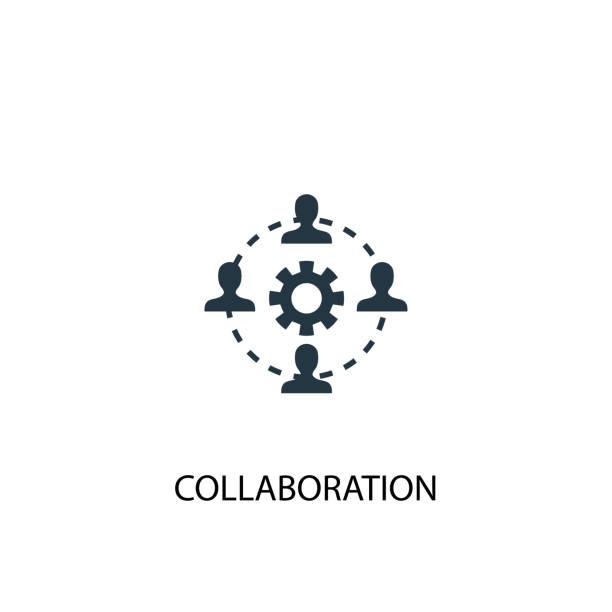 illustrations, cliparts, dessins animés et icônes de l'icône de collaboration. illustration d'élément simple. conception de symbole de concept de collaboration. peut être utilisé pour le web et mobile. - infographie processus