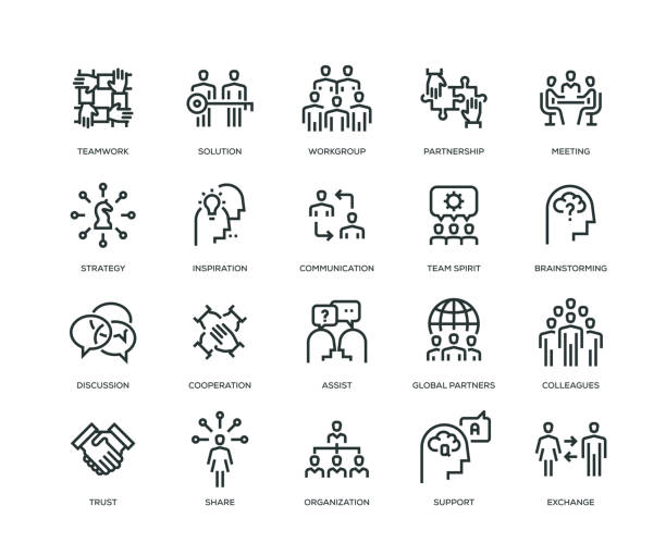 Collaboration icons - Line Series Collaboration icons - Line Series colleague stock illustrations