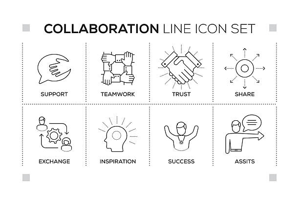 Collaboration keywords with monochrome line icons vector art illustration