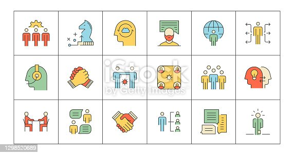 Teamwork, Solution, Workgroup, Colleagues, Meeting, Support, Strategy, Inspiration, Communication, Team Spirit, Brainstorming, Organization, Discussion, Cooperation, Assist, Global Partners, Trust, Share Icons