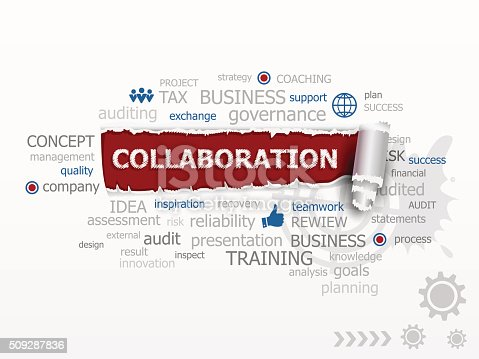 Collaboration word cloud. Design illustration concepts for business, consulting, finance, management, career.