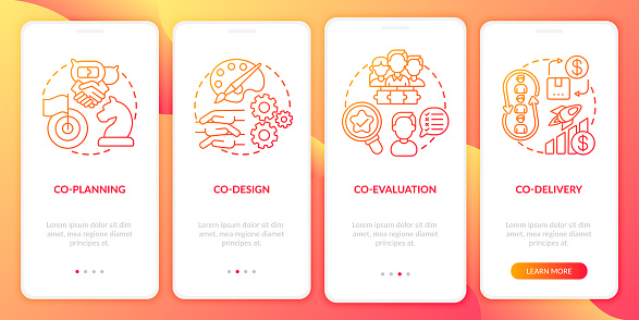 Collaborative production onboarding mobile app page screen with concepts