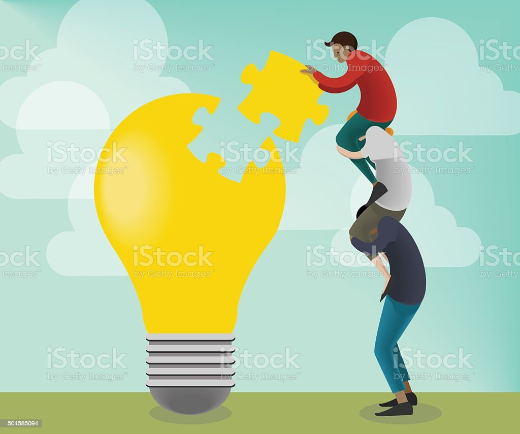 Collaborative Team Building Innovation vector art illustration