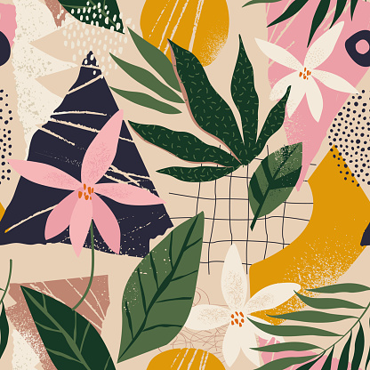 Collage contemporary floral and polka dot shapes seamless pattern. Modern exotic design for paper, cover, fabric, interior decor and other users.