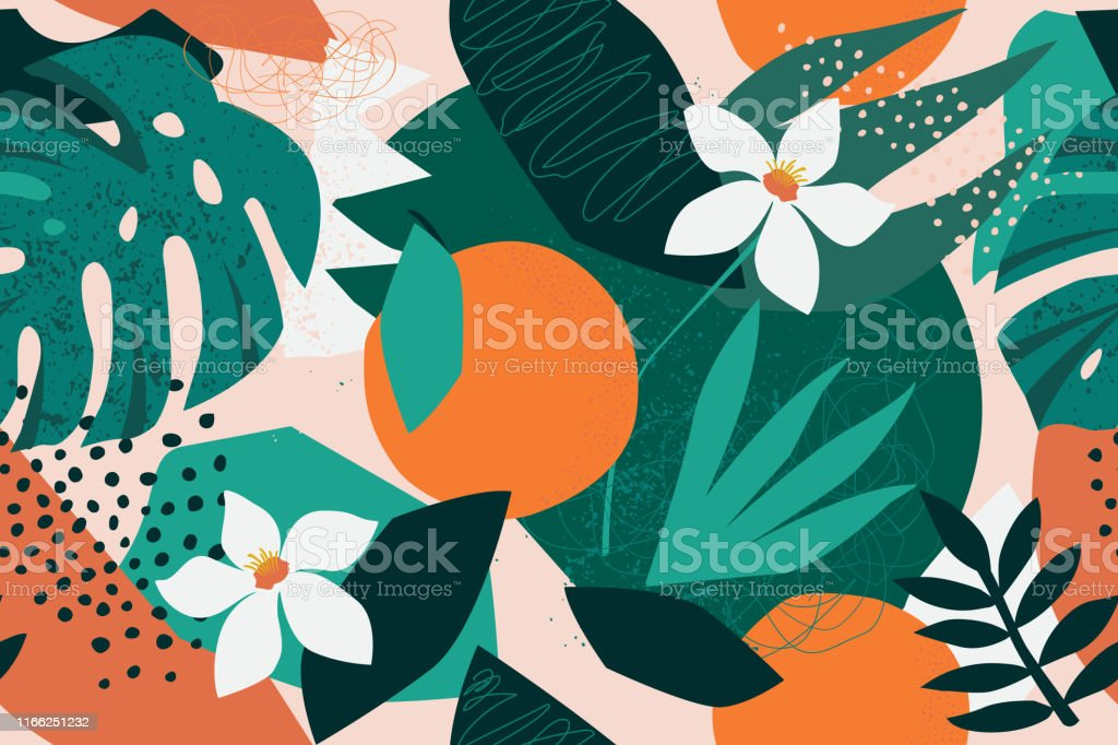 Collage contemporary floral seamless pattern. Modern exotic jungle fruits and plants illustration in vector. Collage contemporary floral seamless pattern. Modern exotic jungle fruits and plants illustration vector. Abstract stock vector