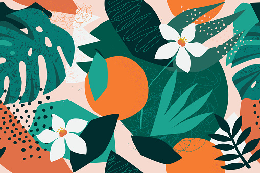 Collage contemporary floral seamless pattern. Modern exotic jungle fruits and plants illustration in vector. clipart