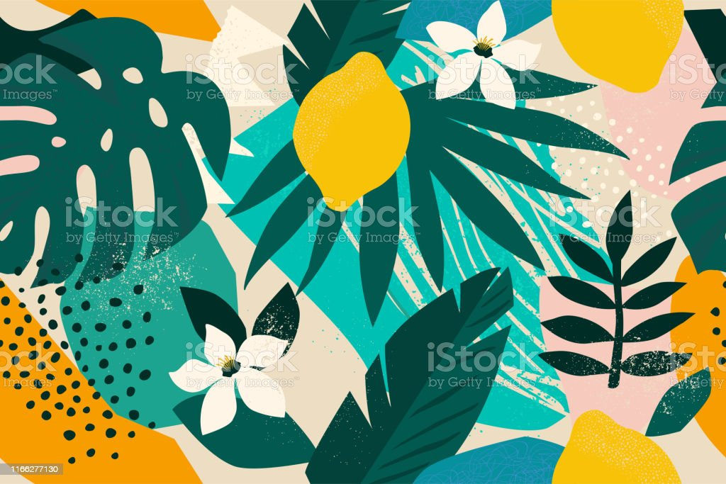 Collage contemporary floral seamless pattern. Modern exotic jungle fruits and plants illustration vector. Collage contemporary floral seamless pattern. Modern exotic jungle fruits and plants illustration vector. Abstract stock vector