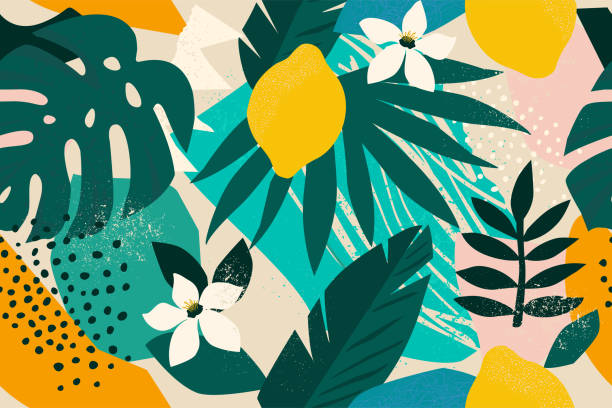 stockillustraties, clipart, cartoons en iconen met collage hedendaagse floral naadloze patroon. moderne exotische jungle fruit en planten illustratie vector. - leopard print
