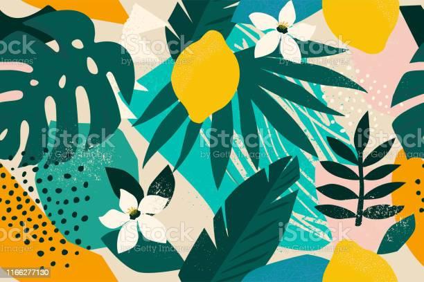 Collage Hedendaagse Floral Naadloze Patroon Moderne Exotische Jungle Fruit En Planten Illustratie Vector Stockvectorkunst en meer beelden van Abstract