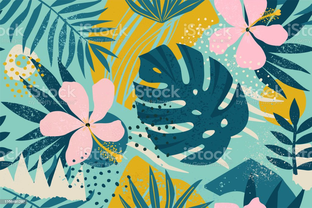Collage contemporary floral seamless pattern. Modern exotic jungle fruits and plants illustration in vector. Collage contemporary floral seamless pattern. Modern exotic jungle fruits and plants illustration in vector. Abstract stock vector