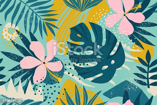 istock Collage contemporary floral seamless pattern. Modern exotic jungle fruits and plants illustration in vector. 1166491297
