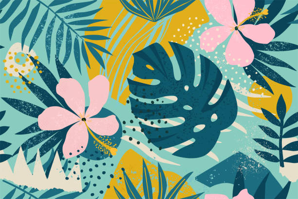 collage contemporary floral seamless pattern. modern exotic jungle fruits and plants illustration in vector. - графический рисунок stock illustrations