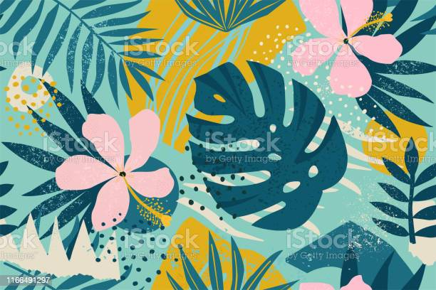 Collage Contemporary Floral Seamless Pattern Modern Exotic Jungle Fruits And Plants Illustration In Vector Stock Illustration - Download Image Now