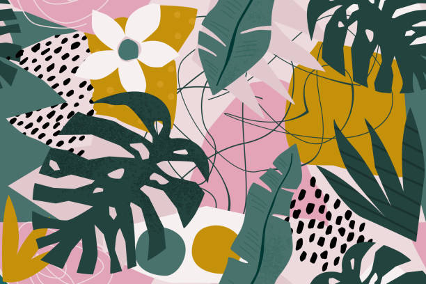 Collage contemporary floral seamless pattern. Modern exotic jungle fruits and plants illustration in vector. vector art illustration