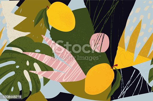istock Collage contemporary floral seamless pattern. Modern exotic jungle fruits and plants illustration in vector. 1208445219