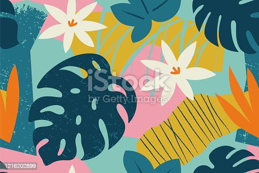 istock Collage contemporary floral seamless pattern. Modern exotic jungle fruits and plants illustration in vector. 1216202899