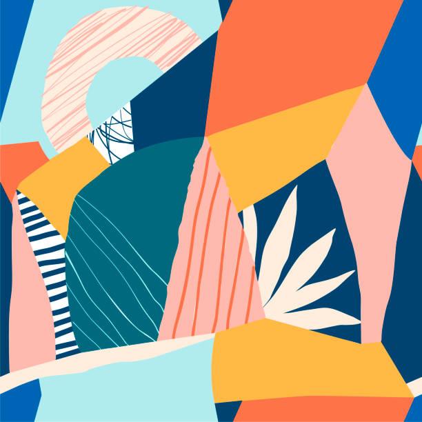 ilustraciones, imágenes clip art, dibujos animados e iconos de stock de patrón transparente floral contemporáneo de collage - patrón floral