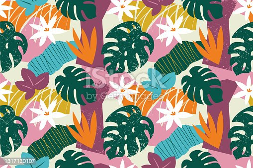 istock Collage contemporary floral seamless pattern. 1317130107