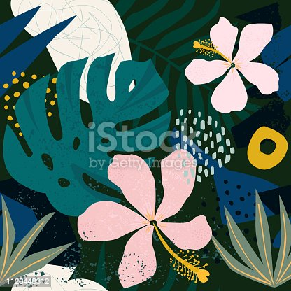 Collage contemporary hibiscus floral hawaiian pattern in vector. Seamless surface design.