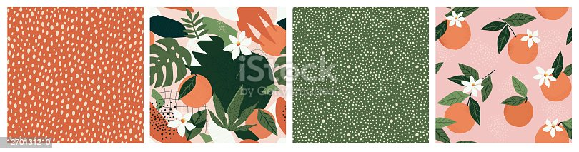 istock Collage contemporary orange floral and polka dot shapes seamless pattern set. 1270131210