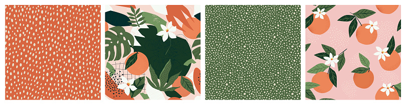 Collage contemporary orange floral and polka dot shapes seamless pattern set.