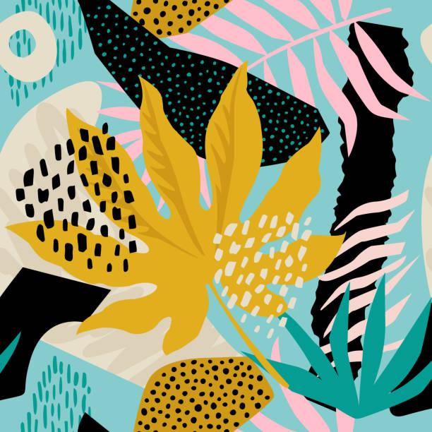 ilustraciones, imágenes clip art, dibujos animados e iconos de stock de collage floral hawaiano. diseño sin fisuras de la superficie. - fondos de hojas
