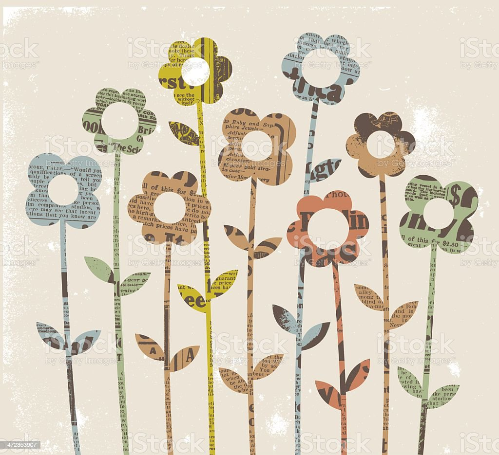 Collage - Flowers vector art illustration