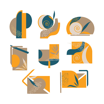 Collage of abstract shapes Magazine, flyer, billboard, sale, postcards.