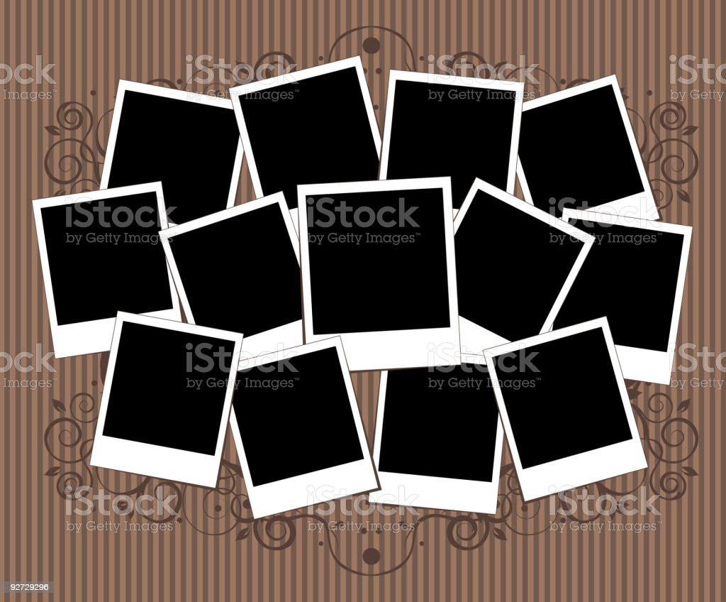 A collage of blank photos on a soft brown background vector art illustration