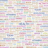 A collage of colored words meaning health