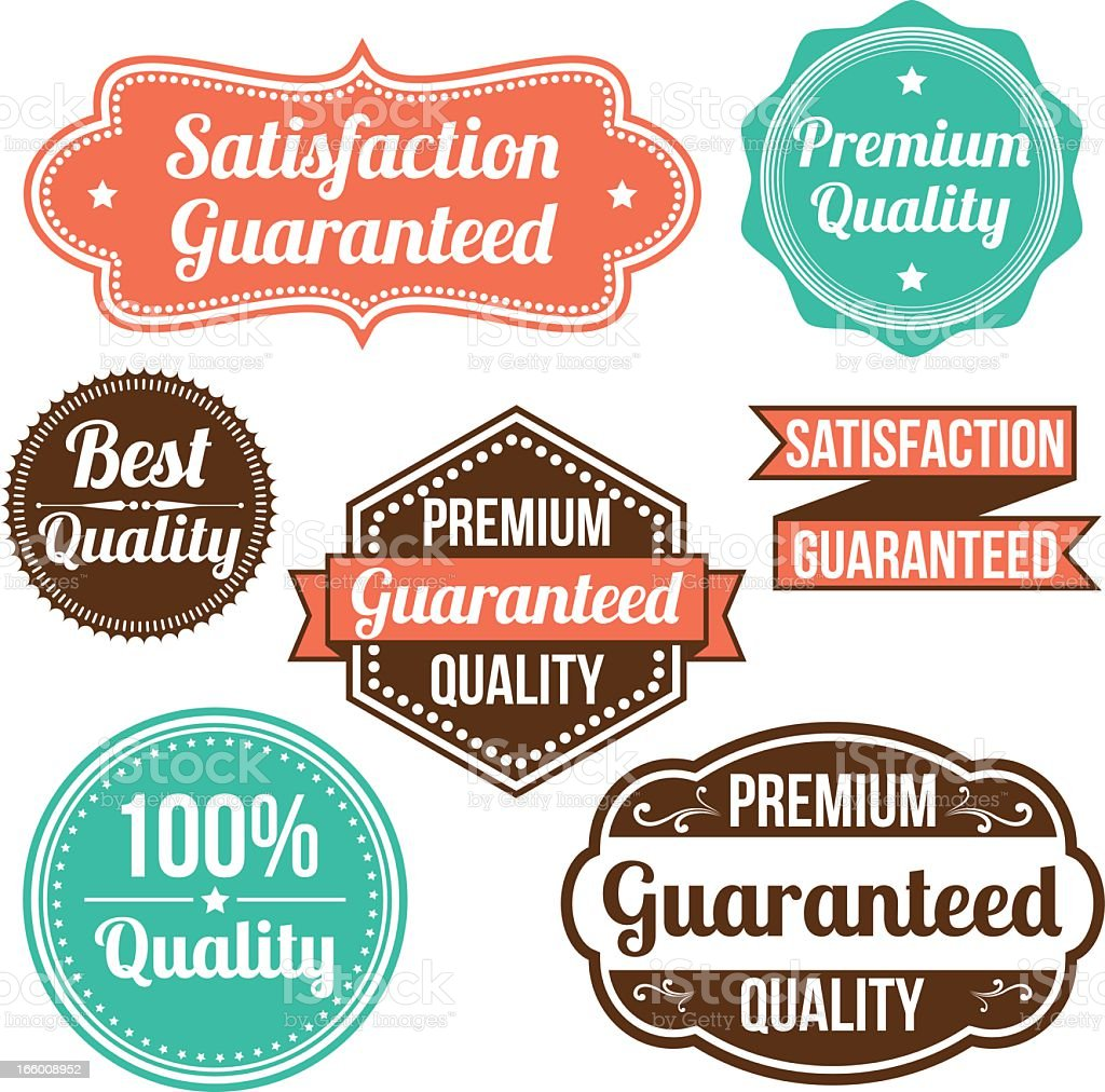 Collage of eight vintage label signs on a white background vector art illustration