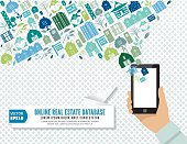 A hand holds a cell phone  with a loud shaped Collage Of Real Estate And Architecture Icons. Icons in blues and greens. Online property search concept.