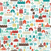 Seamless Pattern Of A Collage Of Real Estate And Architecture Icons. Icons in blues and greens fill a shape.