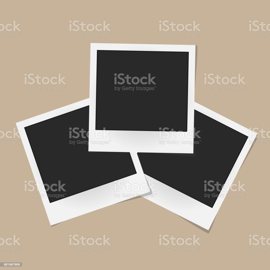 Collage Of Realistic Vector Photo Frames Isolated On Beige
