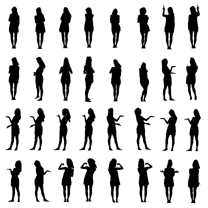 Collage of silhouettes of young woman in bath towel presenting, inviting and using touch screen
