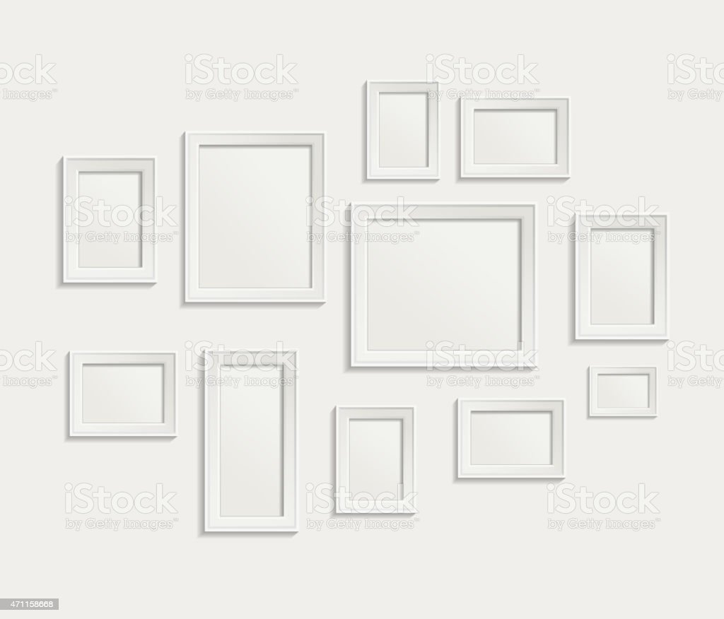 A collage of white picture frames on a white background vector art illustration