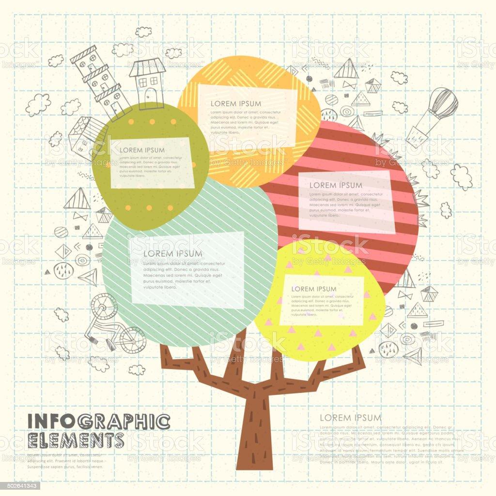 Ilustración de Patrón De Collage Con Colorido árbol Plantilla y más ...