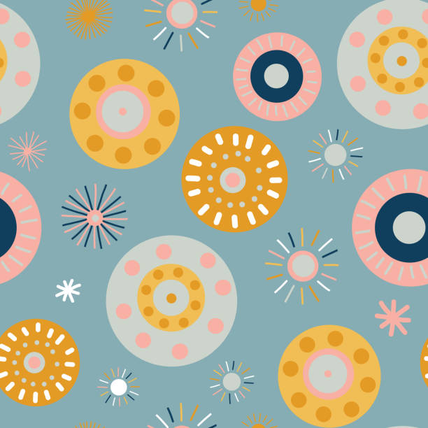 Collage style circles seamless vector background. Modern flat Scandinavian style dots. Abstract round shapes pink, coral, gold, blue, white. Use for feminine decor, fabric, kids, digital paper, banner vector art illustration