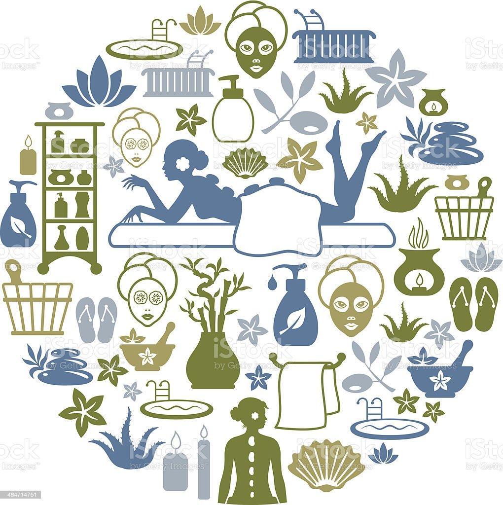 SPA Collage vector art illustration
