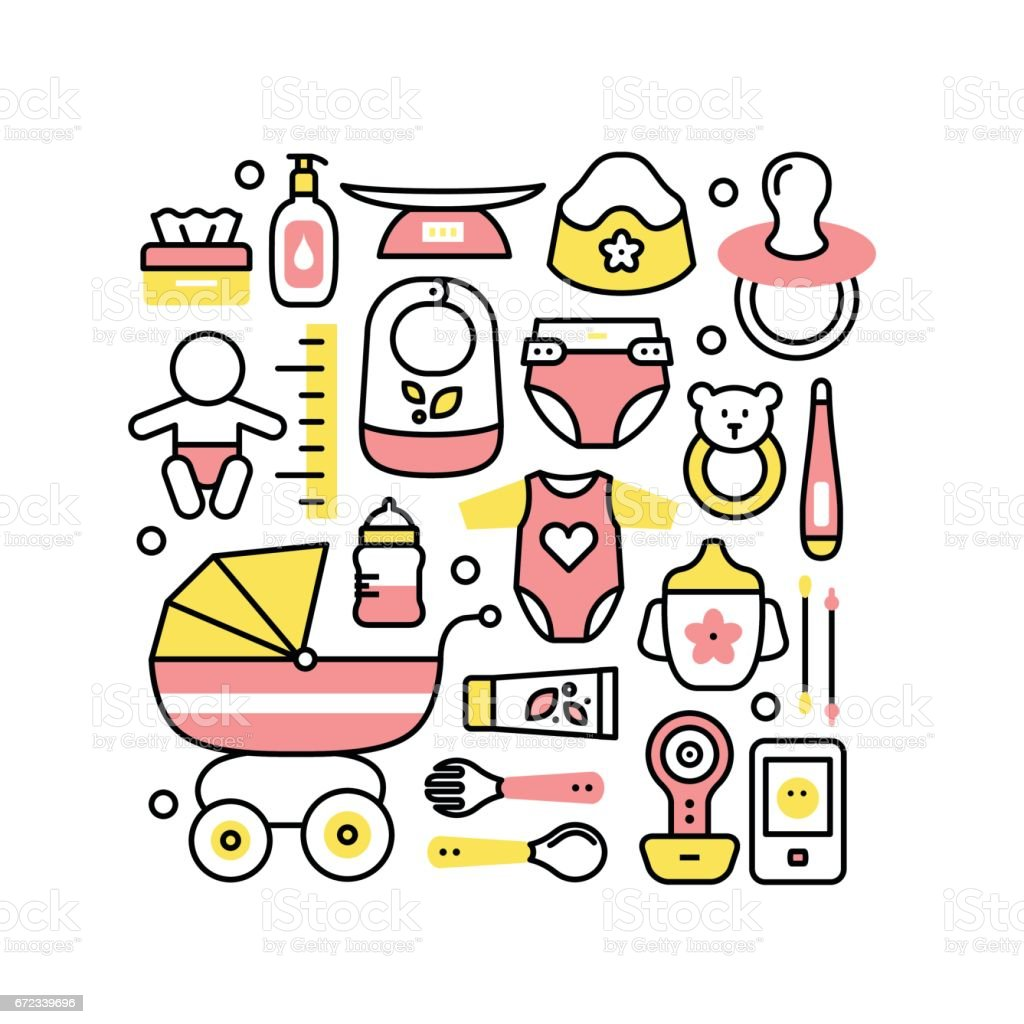 Collage with baby products for child care vector art illustration
