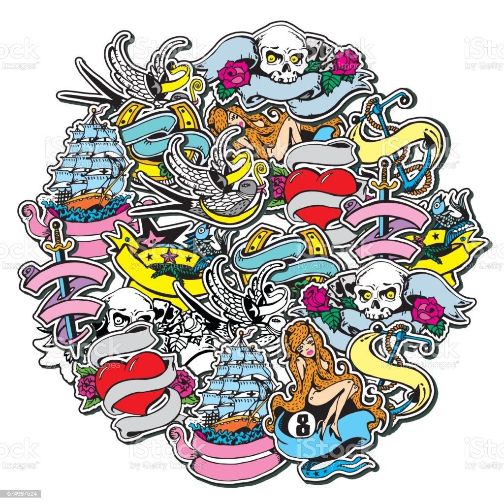 Collage mit Hand Vintage Sticker und Design-Elemente im Kreis gezeichnet. Piraten und Segeln Thema. – Vektorgrafik