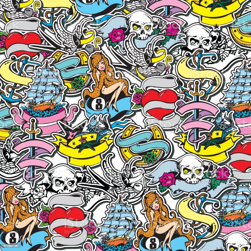 Collage mit handgezeichneten Vintage Sticker und Designelementen. Piraten und Segeln Thema. – Vektorgrafik