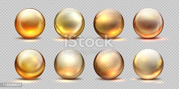 Collagen golden balls. Realistic cosmetic oil, liquid serum drop, transparent isolated 3D pills. Vector yellow collagen drops set