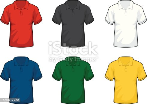 A variety of different colored collared shirts.