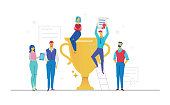 Colleagues celebrating victory - flat design style colorful illustration on white background. Metaphorical composition with office workers or business team holding a diploma, standing next to a cup
