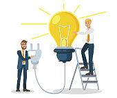 Colleagues Generating Idea Vector Illustration