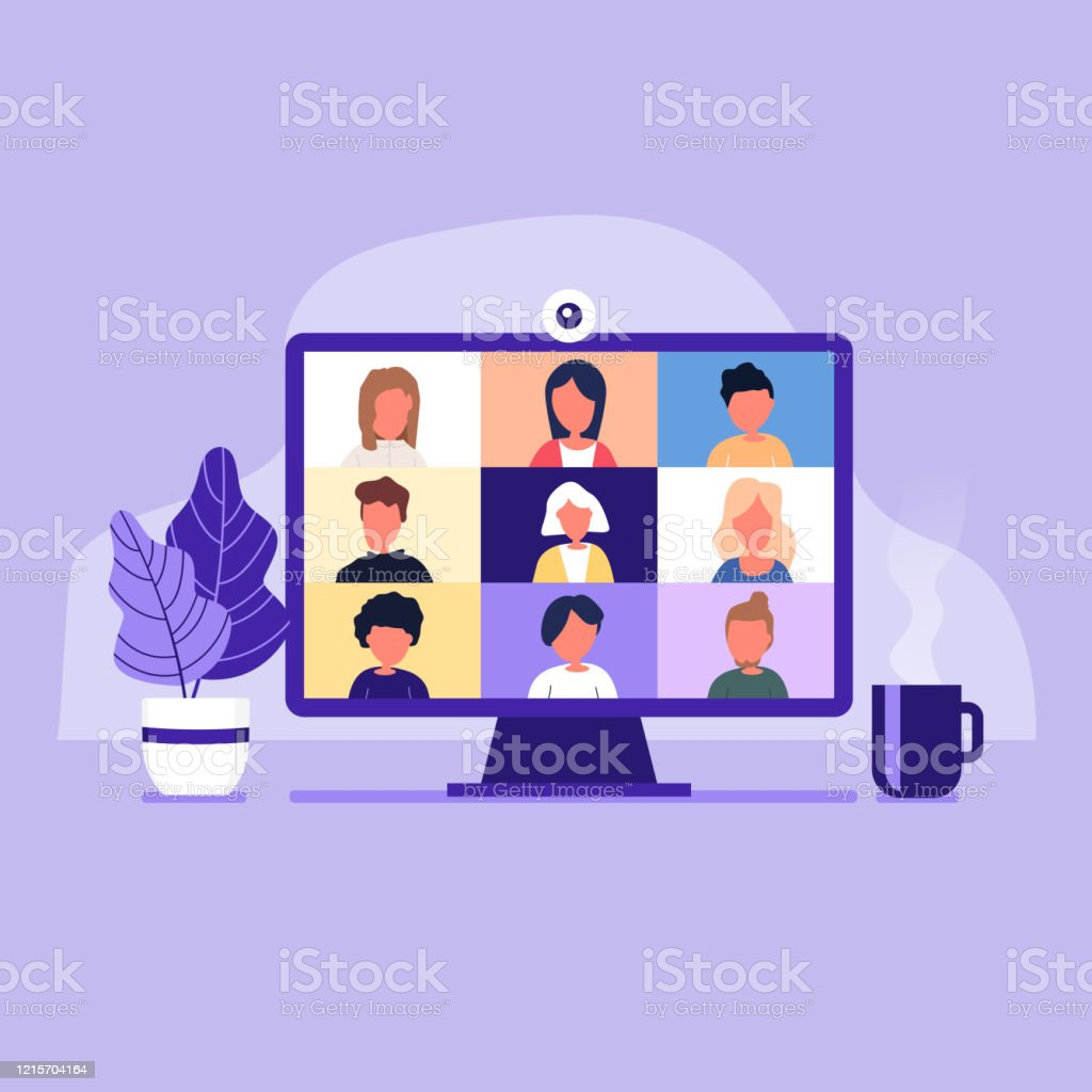Colleagues talk to each other on the computer screen. Conference video call, working from home. - Royalty-free Business stock vector