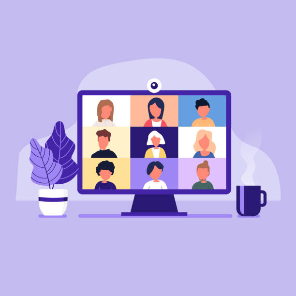 colleagues talk to each other on the computer screen. conference video call, working from home. - language class stock illustrations